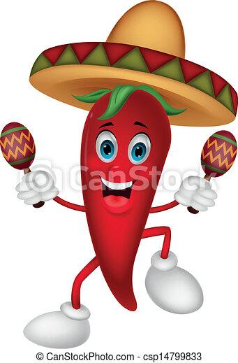 Happy chili pepper cartoon dancing  - csp14799833