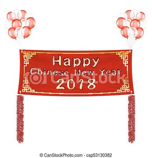 happy chinese new year 2018 banner with balloons csp53130382