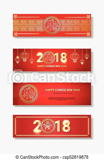 happy chinese new year 2018 banners collection red and golden decoration design csp52819878 - Chinese New Year 1987