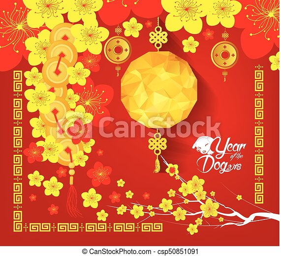 happy chinese new year 2018 card year of the dog vector - Chinese New Year 2018
