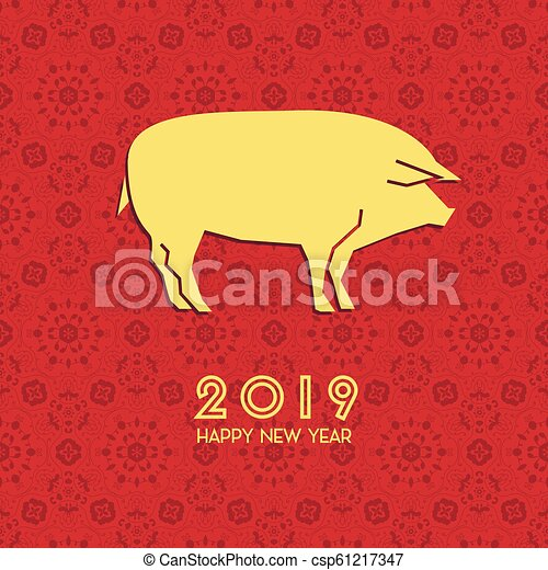 Happy Chinese New Year 2019 Year Of The Pig Zodiac Sign For