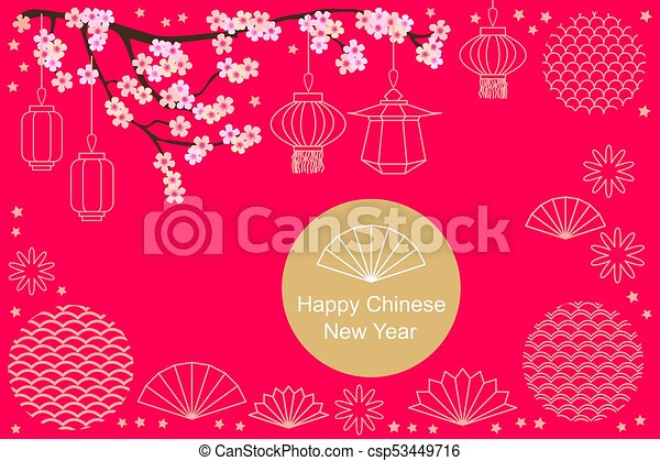 happy chinese new year card abstract geometric ornaments blooming sakura and oriental lanterns on