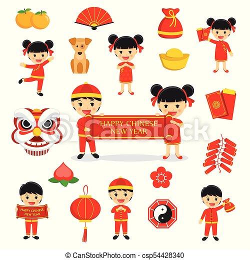 Happy chinese new year decoration traditional symbols set ...