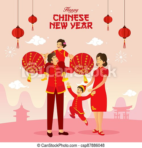 Happy chinese new year greeting card - csp87886048