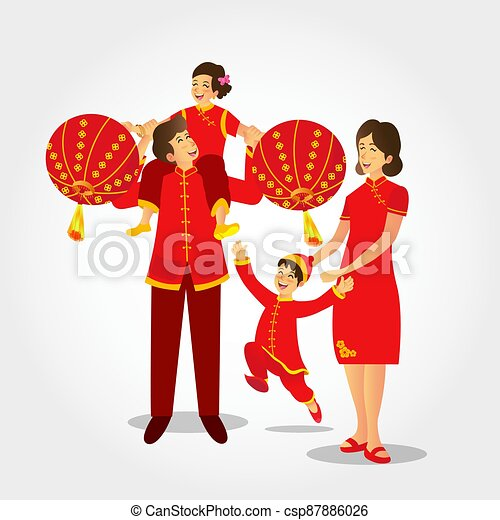 Happy chinese new year greeting card - csp87886026