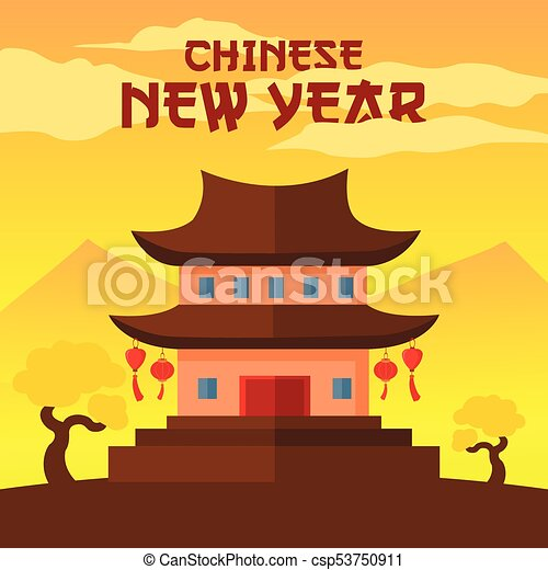 happy chinese new year temple scene vector illustration graphic