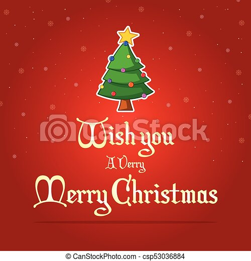 Happy Christmas on red background - csp53036884