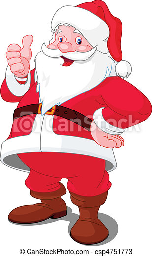 happy christmas santa christmas santa claus with thumb up gesture can stock photo