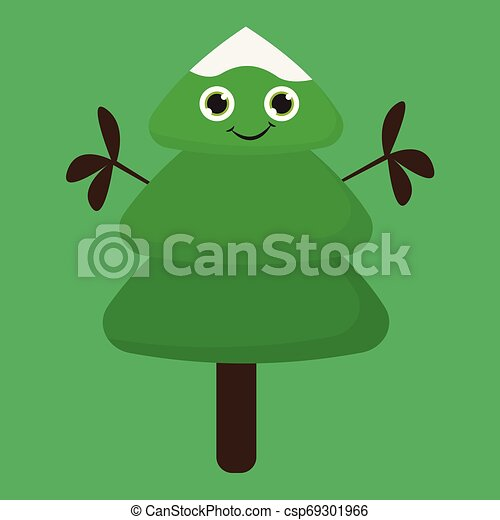 Happy christmas tree , vector or color illustration. A ...