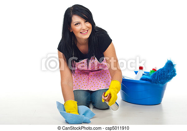 Happy cleaning woman - csp5011910