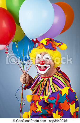 Happy Clown With Balloons - csp3442946
