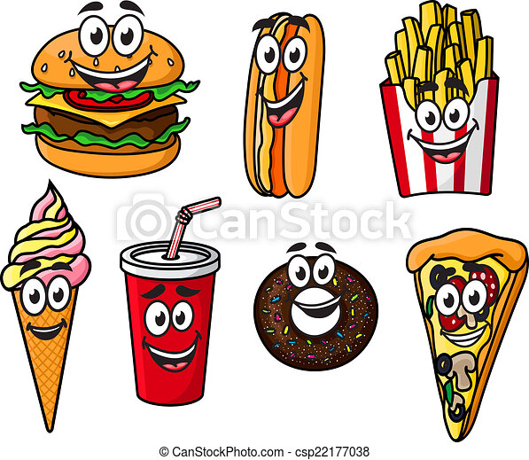 Happy Colorful Takeaway Cartoon Food