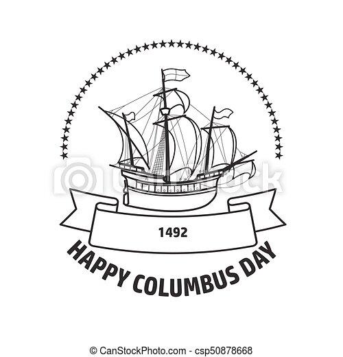 Happy Columbus Day Greeting Card Vector Illustration Happy