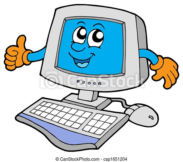 happy computer on white background isolated illustration drawing rh canstockphoto com sg computer clipart pictures computer clip art for kids