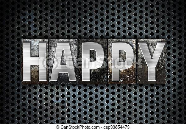 Happy Concept Metal Letterpress Type - csp33854473