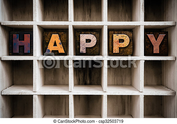 Happy Concept Wooden Letterpress Type in Draw - csp32503719