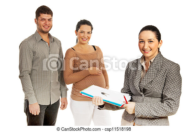 Happy couple and real estate agent - csp11518198