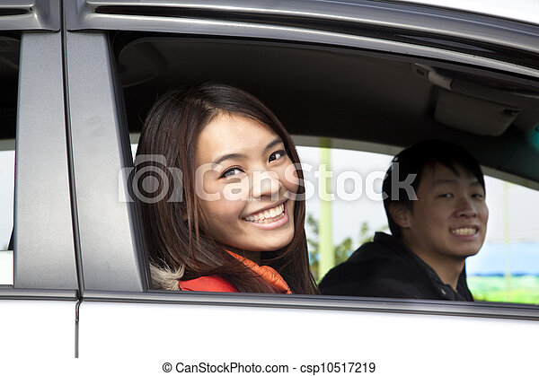 Happy couple in the car - csp10517219