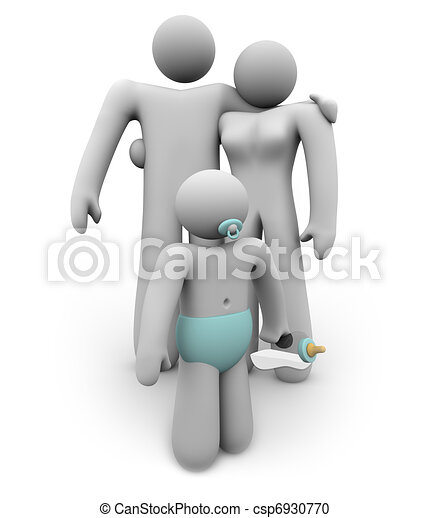 Happy Couple Parenting with One Baby Starting Family - csp6930770