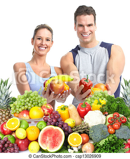 Happy couple with fruits. - csp13026909