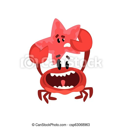 Happy crab character holding starfish, cute sea creatures with funny faces vector Illustration on a white background - csp63068963