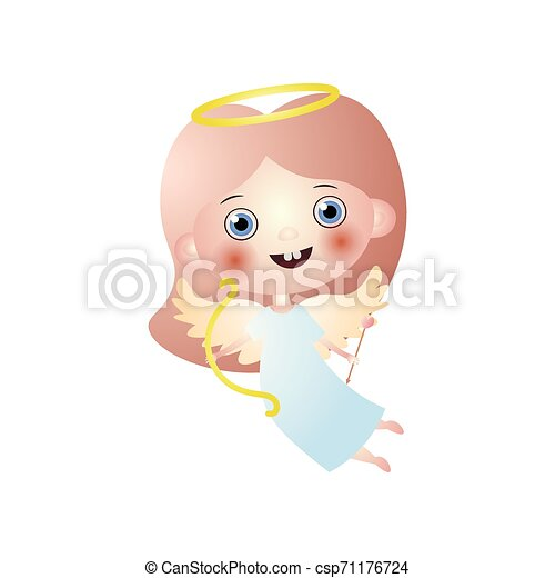 Happy cute angel cupidon with gold bow and arrow - csp71176724