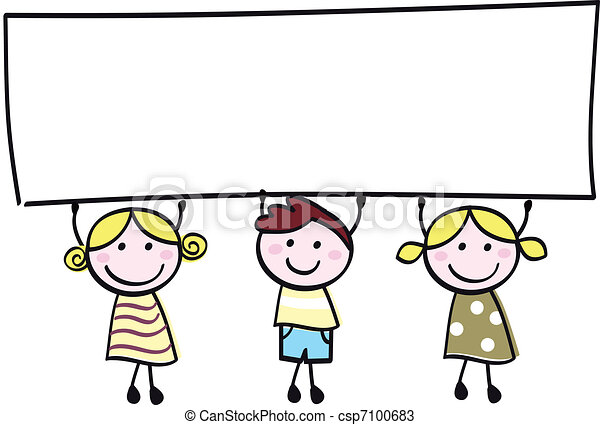 Happy cute little women and man holding empty blank banner - cartoon illustration. - csp7100683