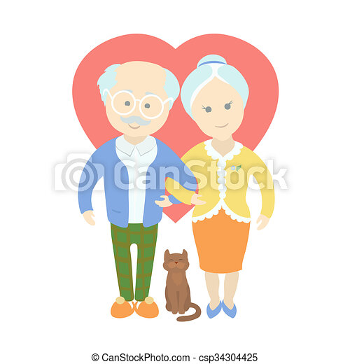 happy cute old couple grandma and grandpa standing full clip rh canstockphoto com