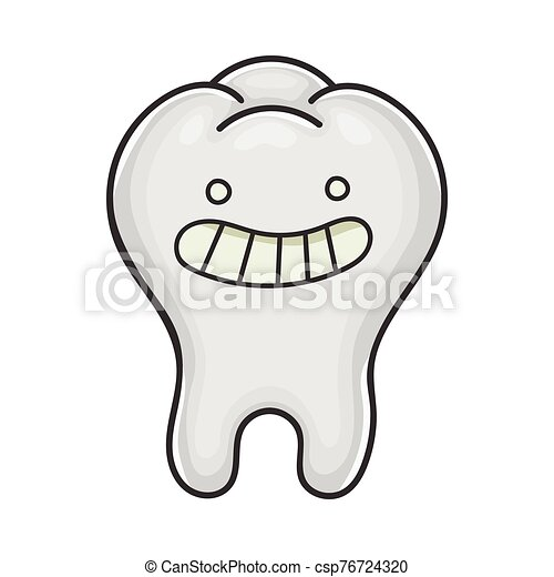 Happy Cute Smiling Tooth Cartoon Isolated On White