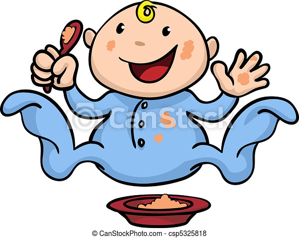 happy cute weaning baby playing with food clipart vector rh canstockphoto com baby food clipart black and white baby food clip art free