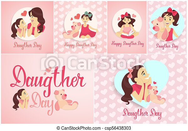 Happy daughters day happy daughters day greetings cards set in pink happy daughters day csp56438303 m4hsunfo
