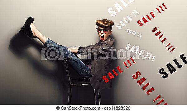 Happy delightful shopper - eve xmas sales concept. Fantasy - csp11828326
