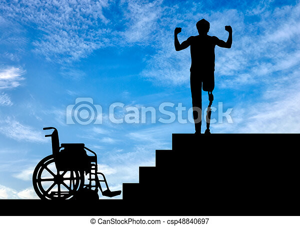 Happy disabled man with a prosthetic leg - csp48840697