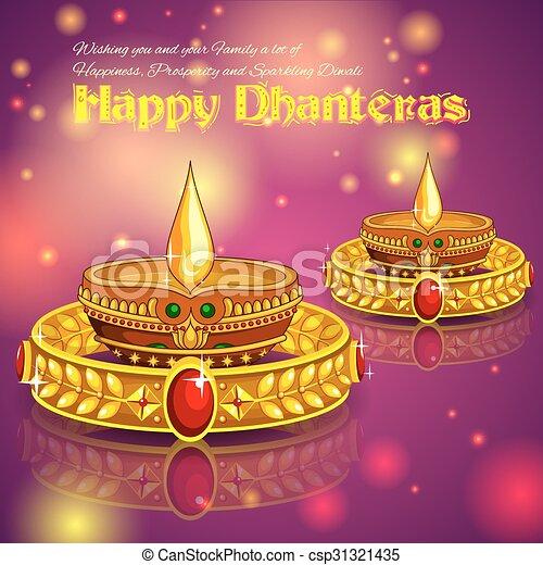Happy Diwali jewelery promotion background with diya - csp31321435