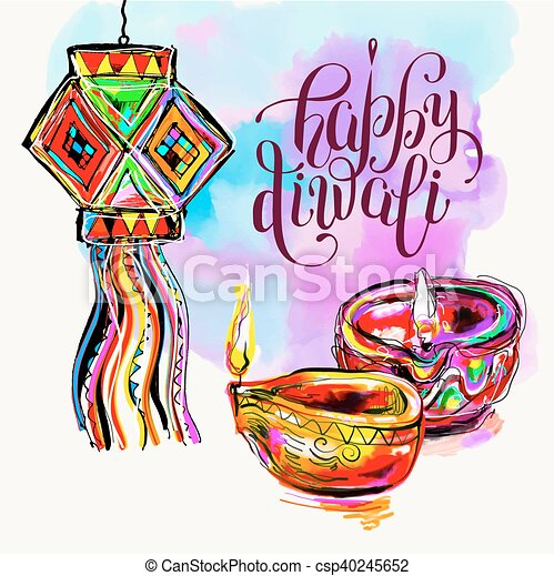 happy diwali watercolor greeting card to indian fire festival with rh canstockphoto com diwali clipart pictures diwali clipart free download