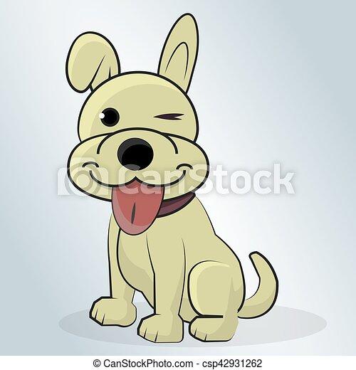 Happy Dog Cartoon Vector Illustration Beautiful Happy Dog Cartoon Vector Illustration On A Blue Background
