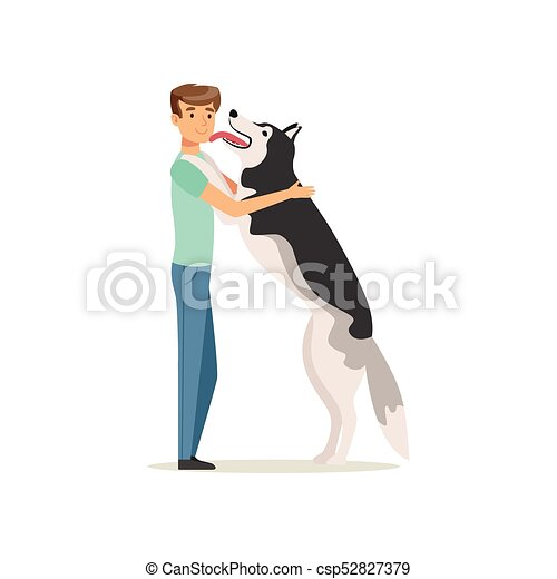 Happy dog licking man s face. Guy having fun with Siberian Husky. Doggy meets owner after long time. Domestic animal. Human s best friends. Flat vector - csp52827379
