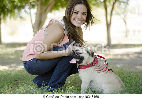 Happy dog owner and her pet - csp10315160