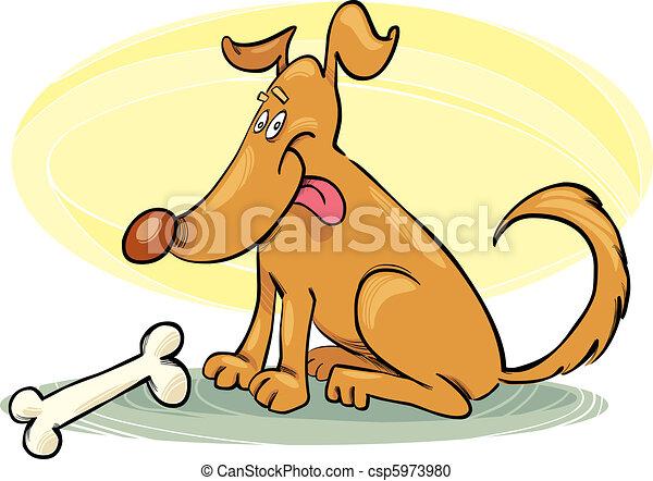 Happy Dog with Bone - csp5973980