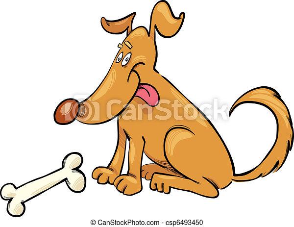 Happy Dog with Bone - csp6493450