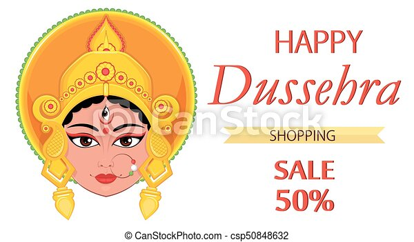 Happy dussehra greeting card maa durga face for hindu festival happy dussehra greeting card maa durga face for hindu festival csp50848632 m4hsunfo