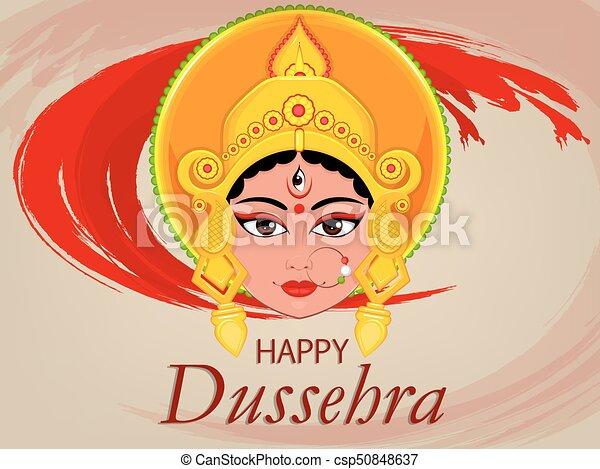 Happy dussehra greeting card maa durga face for hindu vectors happy dussehra greeting card maa durga face for hindu festival csp50848637 m4hsunfo