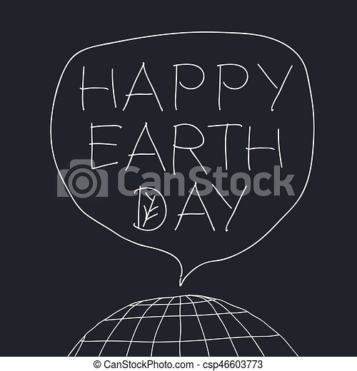 Happy earth day greeting lettering in speech balloon vector happy earth day greeting lettering in speech balloon vector illustration with the words planet earth and leaf veins m4hsunfo