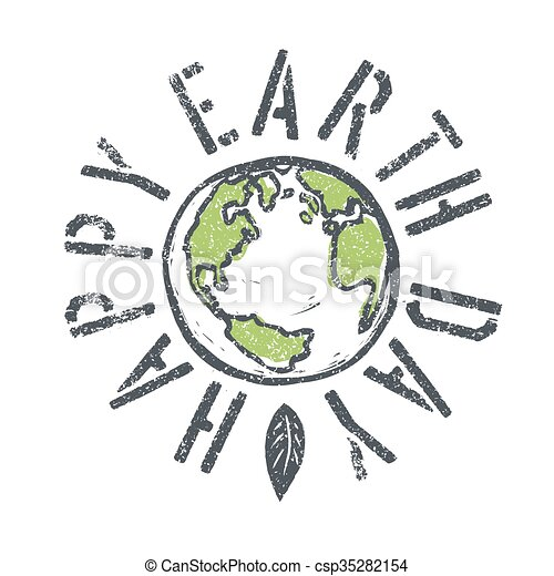 Happy Earth Day Grunge Lettering With Earth Symbol Isolated Vector