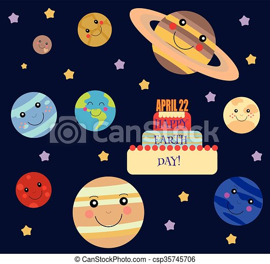 Happy earth day illustration with all planets of solar ...