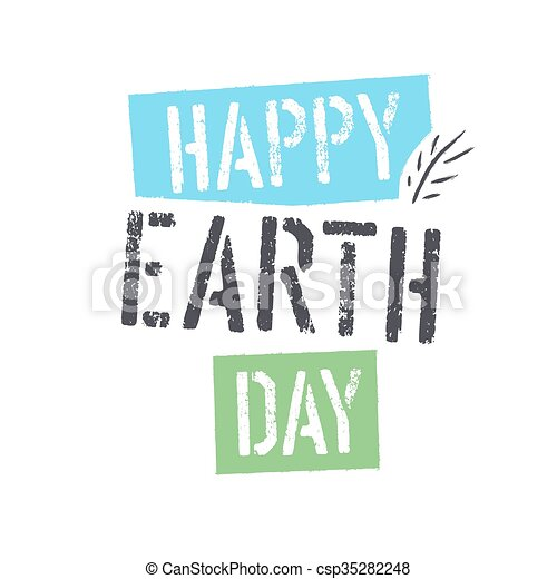 Happy Earth Day Lettering With Leaf Symbol Isolated Logo Design