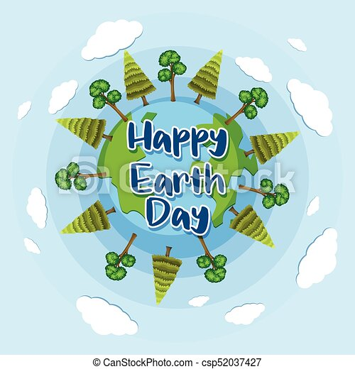 Happy Earth Day Images happy earth day poster design with trees on earth illustration.