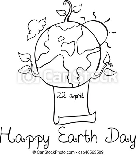 Happy Earth Day Style Doodle Hand Draw