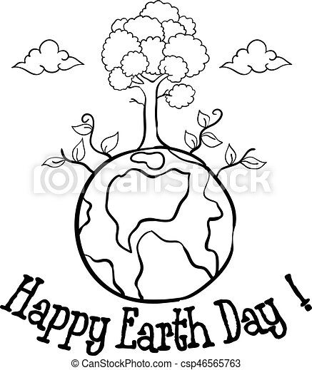 Happy Earth Day With Tree Hand Draw