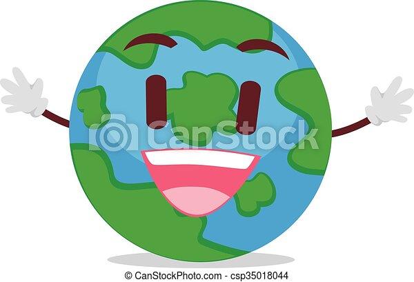 Line Art Earth : Illustration of happy earth mascot eps vector search clip art
